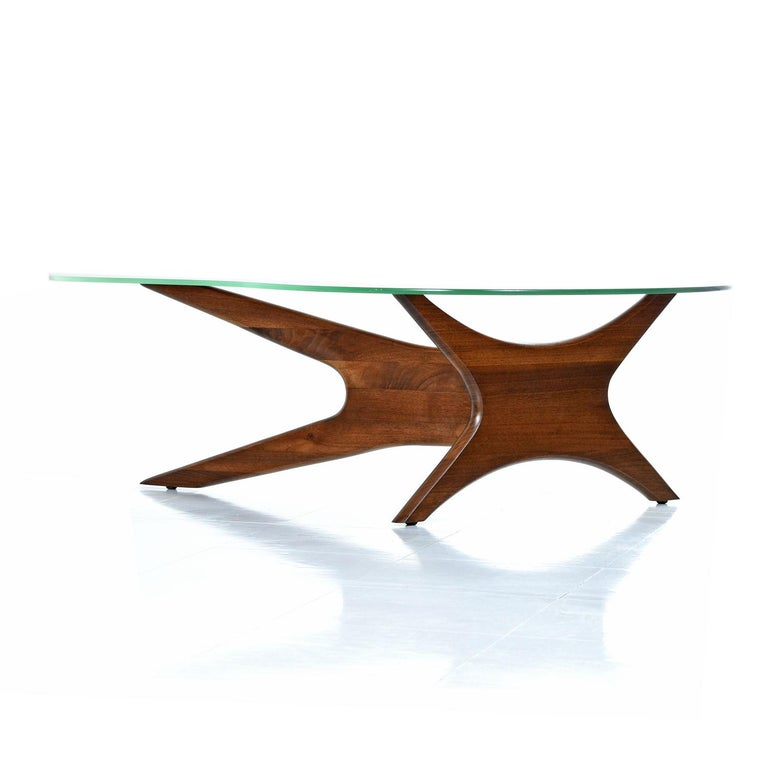 American Mid-Century Modern Walnut Adrian Pearsall Jacks Coffee Table 1465-T, New Glass For Sale