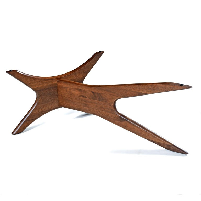 Mid-Century Modern Walnut Adrian Pearsall Jacks Coffee Table 1465-T, New Glass In Excellent Condition For Sale In Saint Petersburg, FL