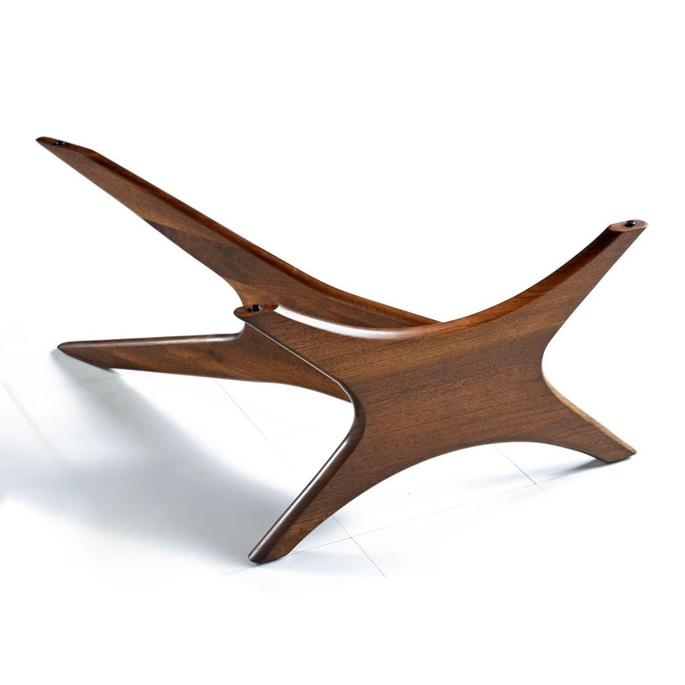 Mid-20th Century Mid-Century Modern Walnut Adrian Pearsall Jacks Coffee Table 1465-T, New Glass For Sale