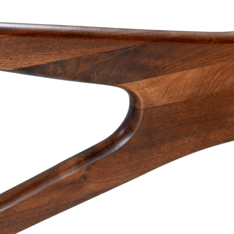 Mid-Century Modern Walnut Adrian Pearsall Jacks Coffee Table 1465-T, New Glass For Sale 2