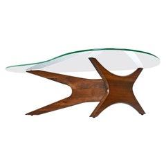 Mid-Century Modern Walnut Adrian Pearsall Jacks Coffee Table 1465-T, New Glass