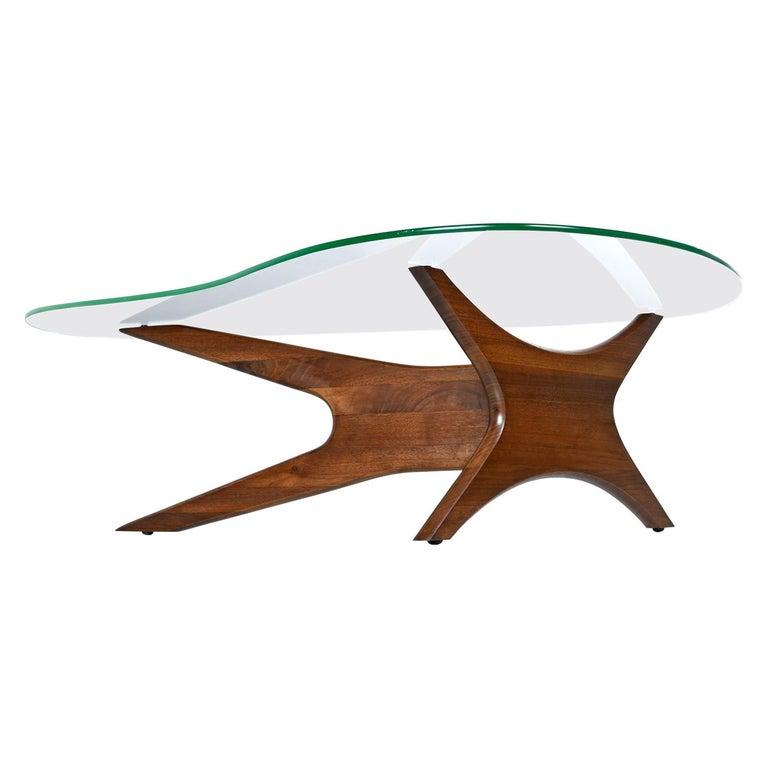 Mid-Century Modern Walnut Adrian Pearsall Jacks Coffee Table 1465-T, New Glass For Sale