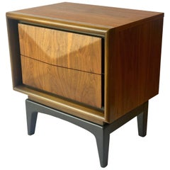 Mid-Century Modern Walnut and Black Lacquer Diamond Front Nightstand by United