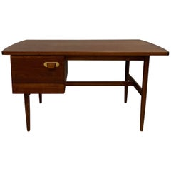 Mid-Century Modern Walnut and Brass Desk by Jens Risom