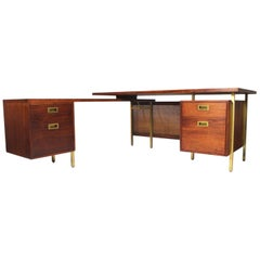 Mid-Century Modern Walnut and Brass L-Shaped Executive Desk with Return