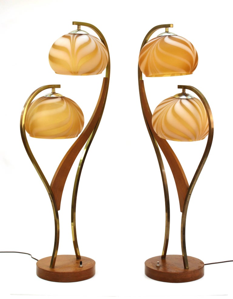 Mid-Century Modern Walnut and Brass Table Lamps with Glass ...