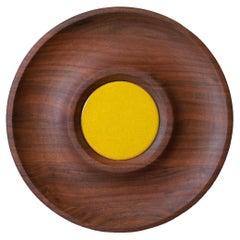 Mid-Century Modern Walnut and Ceramic Serving Bowl Platter