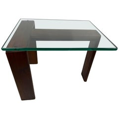 Mid-Century Modern Walnut and Glass Side Table