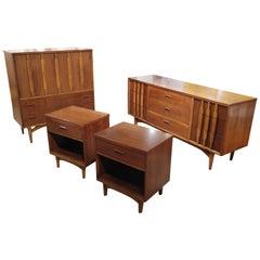 Mid-Century Modern Walnut and Oak Bedroom Set by Kroehler
