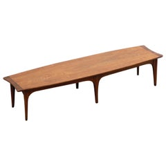 Mid-Century Modern Walnut and Rosewood Surfboard Shaped Coffee Table, circa 1970