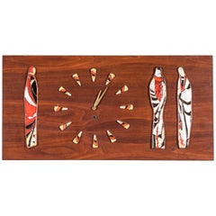 Mid-Century Modern Walnut and Tile Clock by Harris Strong