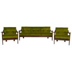 Mid-Century Modern Walnut Armchair and Sofa Set by AG Barcelona, Spain 1970