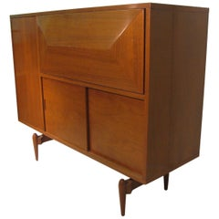 Mid-Century Modern Walnut Lighted Bar Cabinet