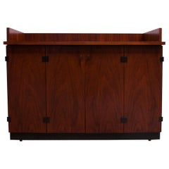 Mid-Century Modern Walnut Bar Cart / Cabinet on Casters by Milo Baughman