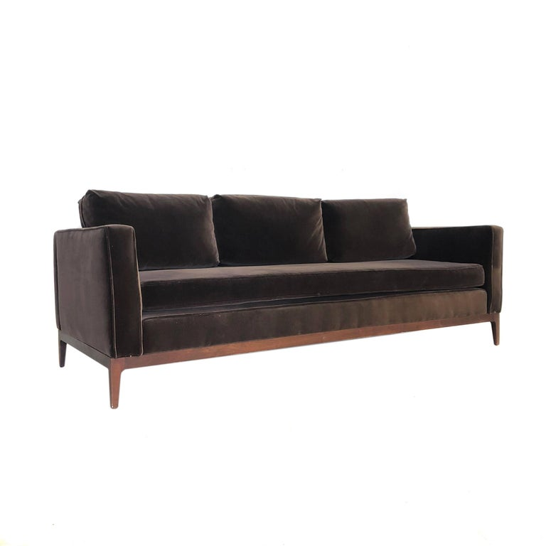 Mid-Century Modern Walnut Based Velvet Sofa in the Manner of Milo Baughman