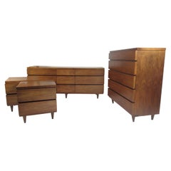 Mid-Century Modern Walnut Bedroom Set by Bassett
