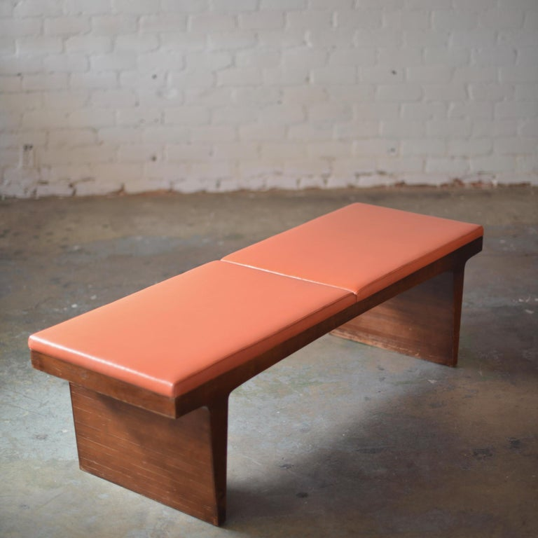 Mid-Century Modern Walnut Bench 5