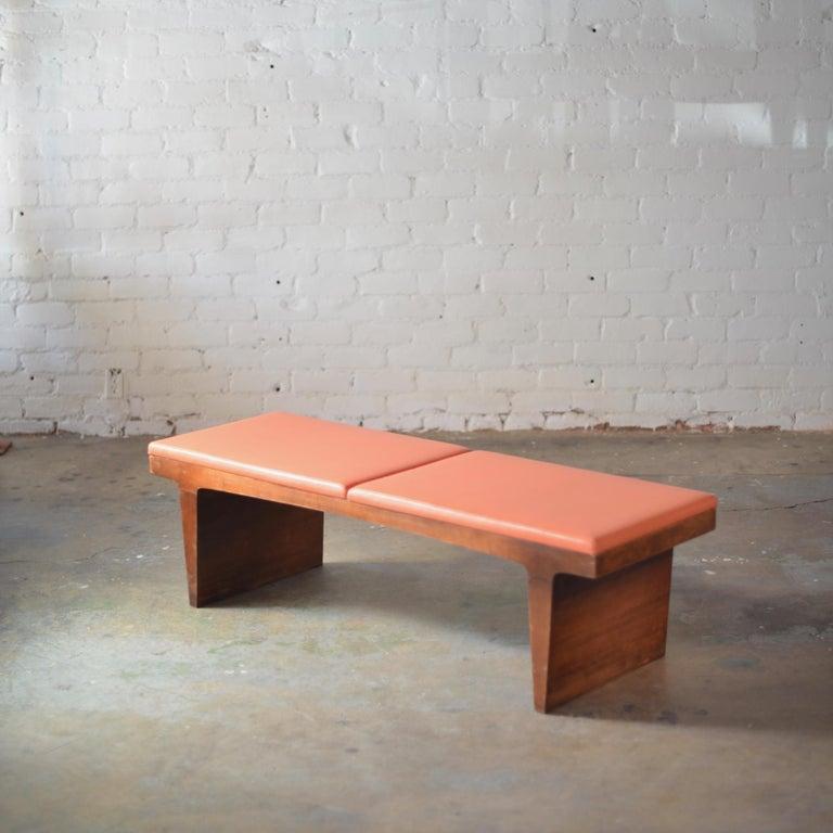American Mid-Century Modern Walnut Bench