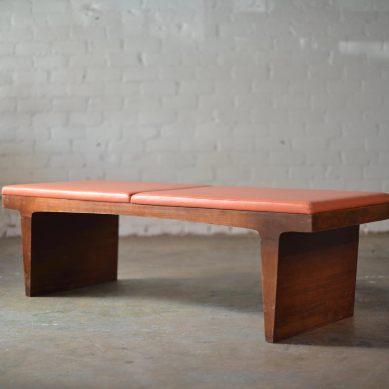 Late 20th Century Mid-Century Modern Walnut Bench