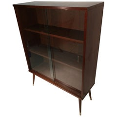 Mid-Century Modern Walnut Bookcase with Glass Sliding Doors