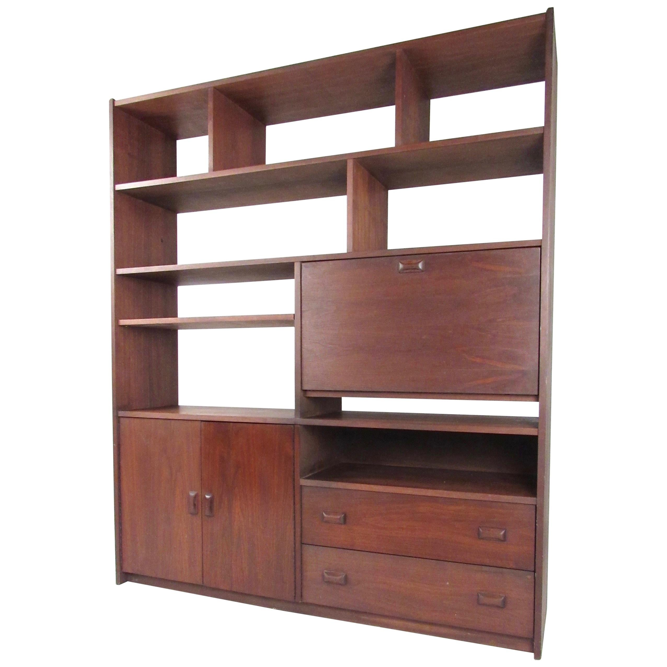 Mid Century Modern Low Bookshelf Vintage Walnut Bookshelf