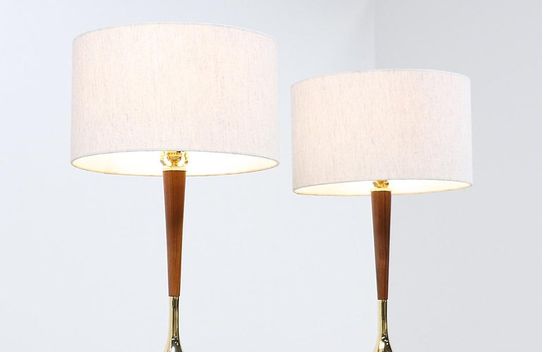 American Mid-Century Modern Walnut & Brass Accent Table Lamps by Laurel For Sale