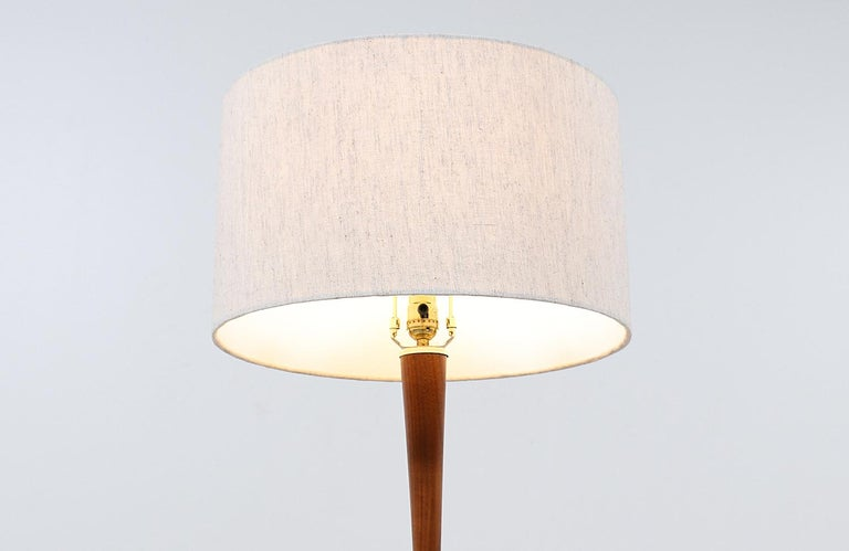 Mid-20th Century Mid-Century Modern Walnut & Brass Accent Table Lamps by Laurel For Sale