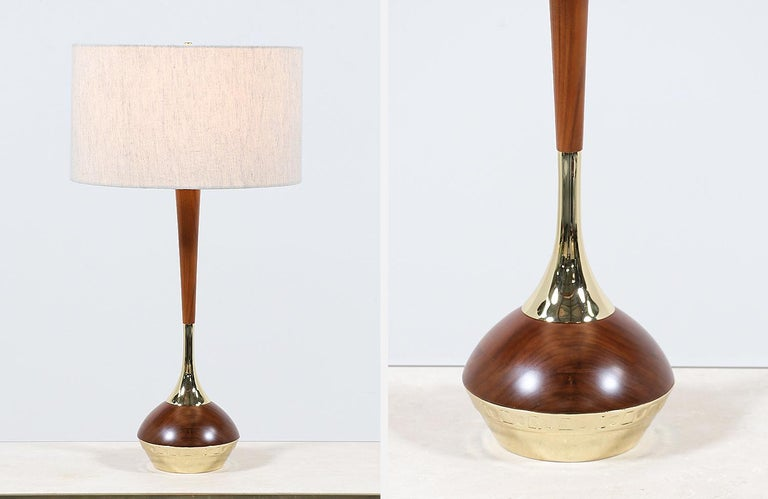 Mid-Century Modern Walnut & Brass Accent Table Lamps by Laurel For Sale 2