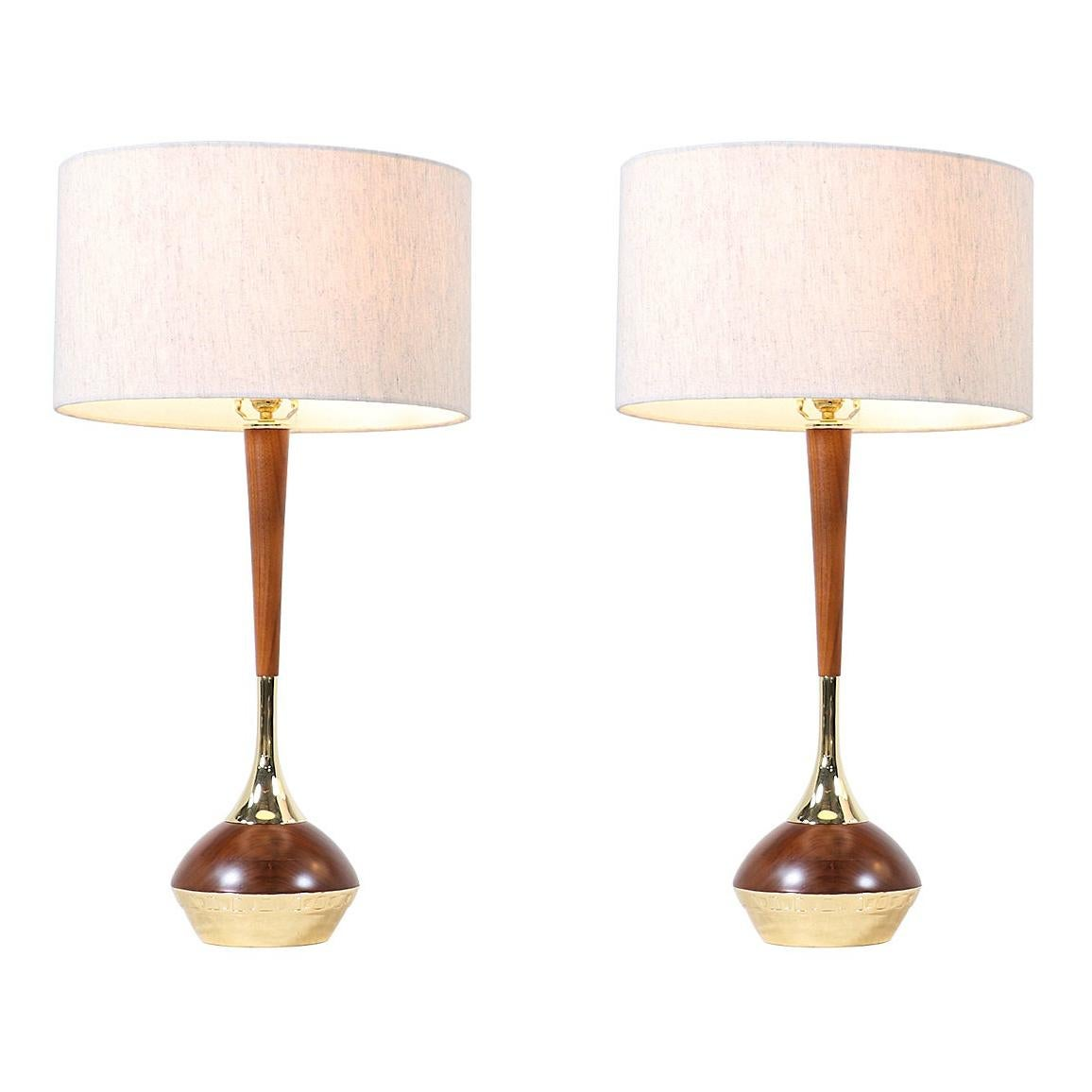 Mid-Century Modern Walnut & Brass Accent Table Lamps by Laurel