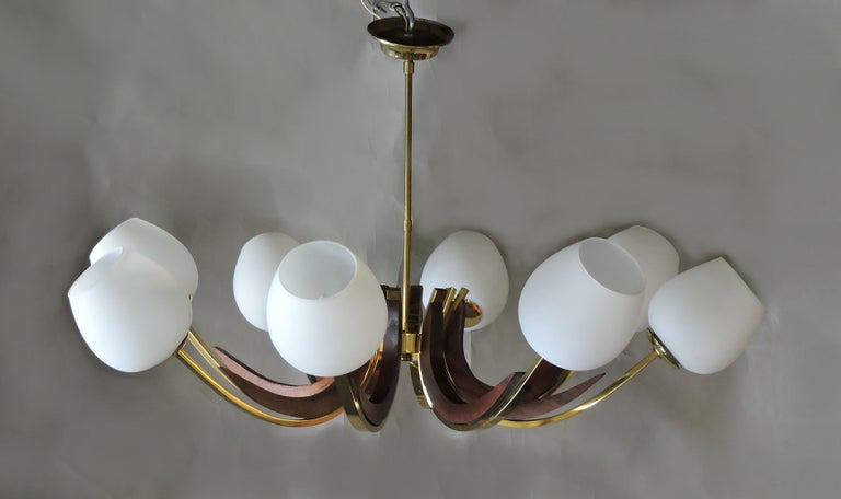 Mid-Century Modern Walnut, Brass, and Glass Eight-Light Chandelier For Sale 1