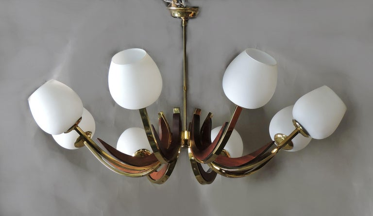 Mid-Century Modern Walnut, Brass, and Glass Eight-Light Chandelier For Sale 3