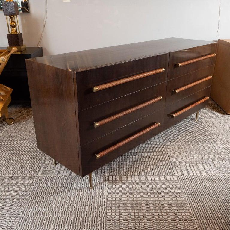 American Mid-Century Modern Walnut, Brass and Rattan Sideboard by T.H. Robsjohn Gibbings For Sale
