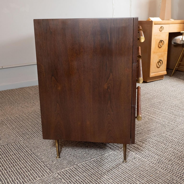 Mid-Century Modern Walnut, Brass and Rattan Sideboard by T.H. Robsjohn Gibbings In Excellent Condition For Sale In New York, NY