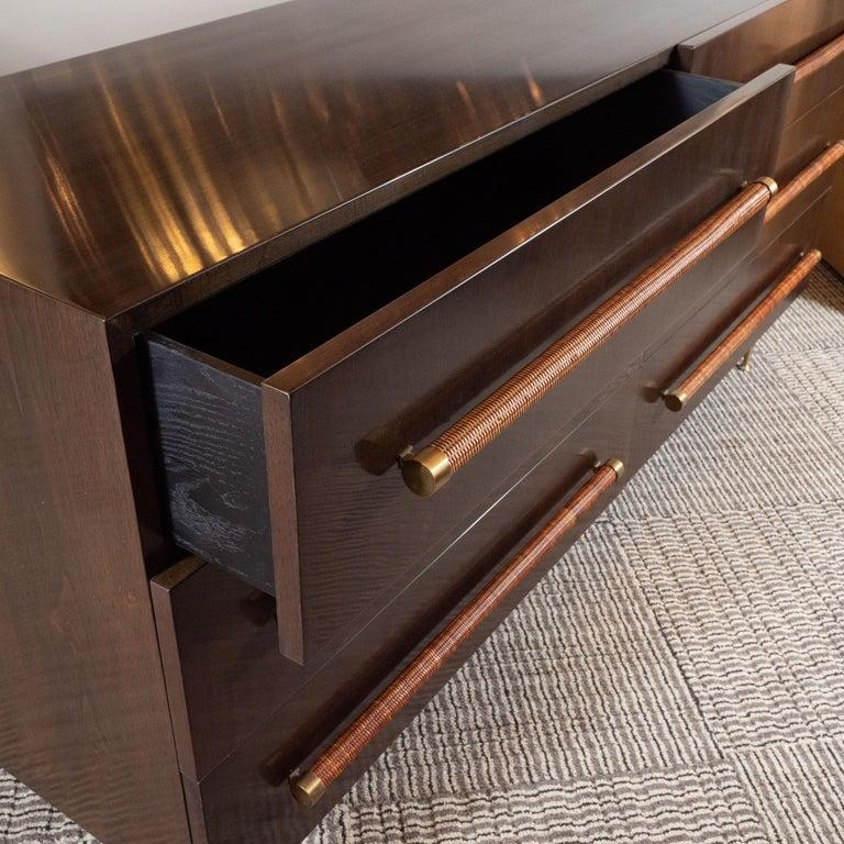 Mid-Century Modern Walnut, Brass and Rattan Sideboard by T.H. Robsjohn Gibbings For Sale 1
