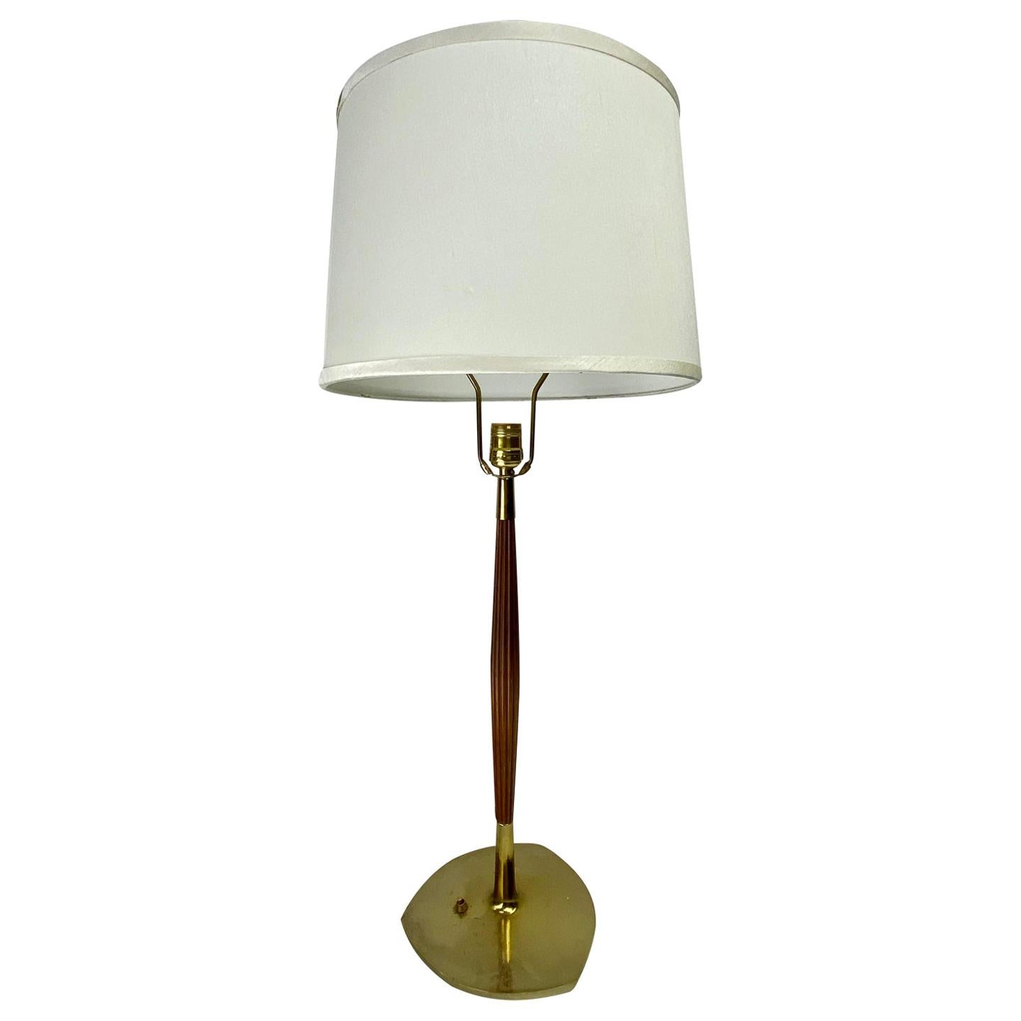 Mid-Century Modern Walnut & Brass Table Lamp W/ Shade Attributed to Thurston