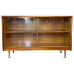 Mid-Century Modern Walnut Cabinet or Bookcase with Sliding Glass Doors, 1960s
