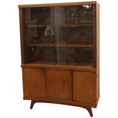 Mid-Century Modern Walnut Cabinet with Glass Doors, circa 1960