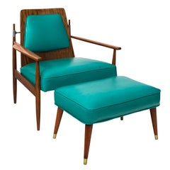 Mid-Century Modern Walnut Chair and Ottoman