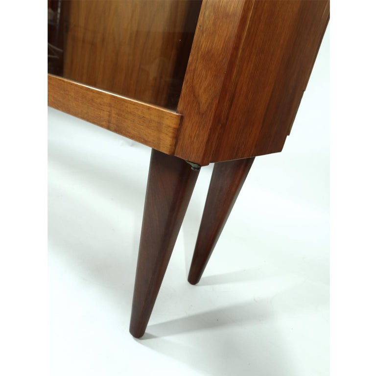 Mid-20th Century Mid-Century Modern Walnut China Cabinet with Arched Facade