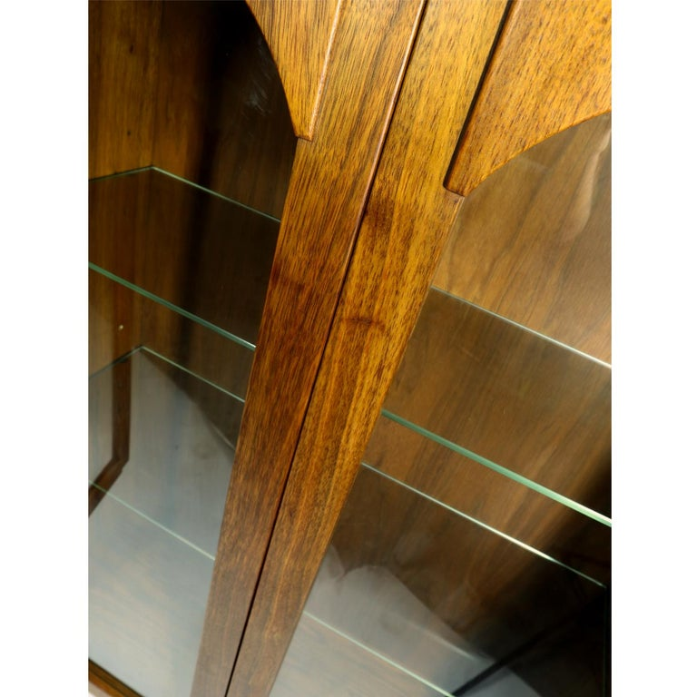 Mid-Century Modern Walnut China Cabinet with Arched Facade 1