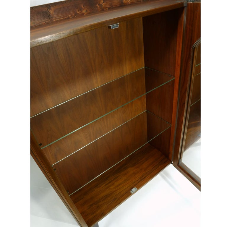 Mid-Century Modern Walnut China Cabinet with Arched Facade 2