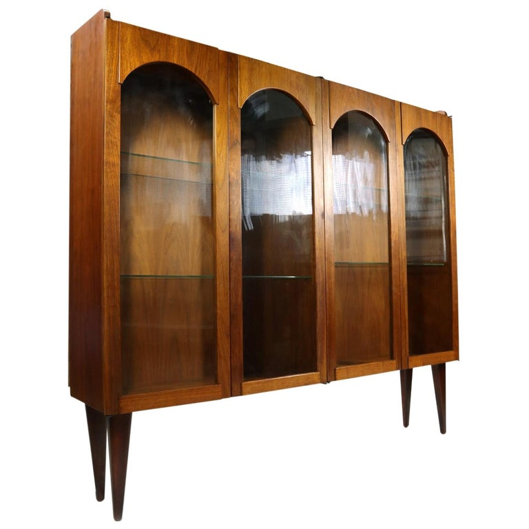 Mid-Century Modern Walnut China Cabinet with Arched Facade