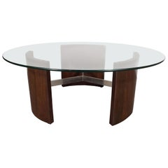 Mid-Century Modern Walnut, Chrome and Glass Cocktail Table by Vladimir Kagan