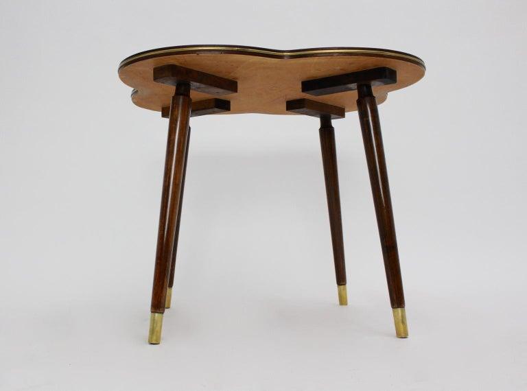 20th Century Mid-Century Modern Walnut Coffee Table in Clover Leaf Shape Vienna, circa 1950 For Sale