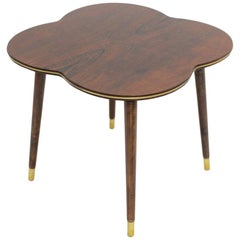 Mid-Century Modern Walnut Coffee Table in Clover Leaf Shape Vienna, circa 1950