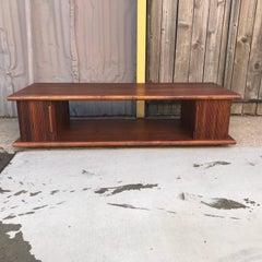 Mid Century Modern Walnut Coffee Table with Tambour Doors