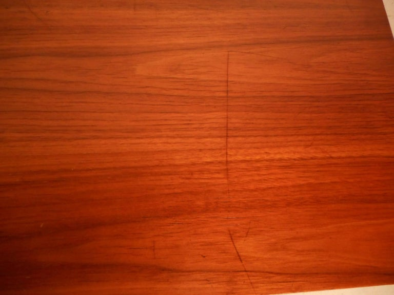 Mid-Century Modern Walnut Desk with a Finished Back For Sale 8