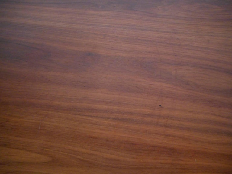Mid-Century Modern Walnut Desk with a Finished Back For Sale 9