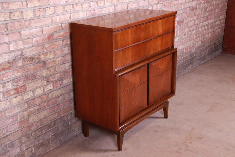 Mid-20th Century Mid-Century Modern Walnut Diamond Front Highboy Dresser by United, 1960s For Sale
