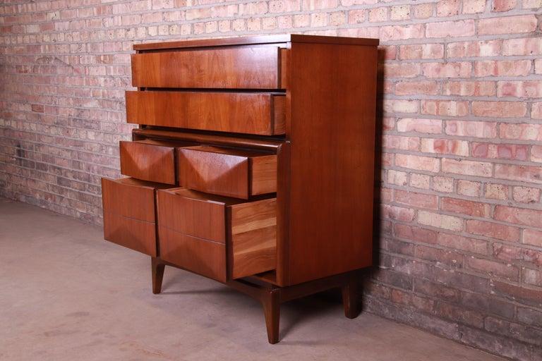 Mid-Century Modern Walnut Diamond Front Highboy Dresser by United, 1960s For Sale 2